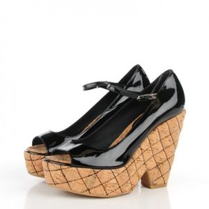 CHANEL Patent Cork Quilted Wedge Peep Toe Sandals